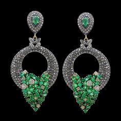 Natural Diamond Dangle Earrings Emerald 925 Sterling Silver 14K Gold Jewelry #Handmade #Dangle