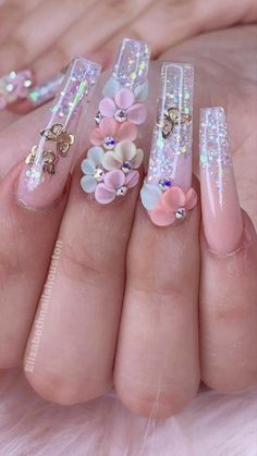Acrylic Nails Coffin Pink, Long Square Acrylic Nails, Bling Nails, Swag Nails, Jewel Nails, Bling Nail Art, 3d Nails, Nails Design With Rhinestones, Nail Art With Glitter