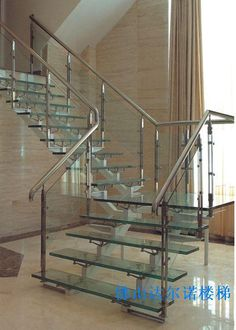 modern glass stainless staircases | Glass staircase handrail / stainless steel staircase(China (Mainland))