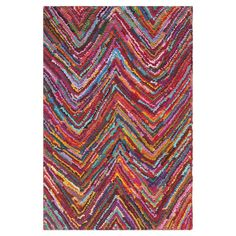 Cotton rug with a multicolor chevron motif. Hand-tufted in India.  Product: RugConstruction Material: Cotton