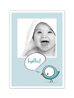 """Baby & Geburt - Karte zur Geburt """"Vogel"""" - ein Designerstück von Wdrei10 bei DaWanda"""