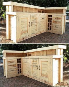 Now see a huge repurposed wood pallet bar idea, it contains space to store the items which is covered by the door. There are also small boxes to fit the wine bottles. It is great to be copied for the home if there are several individuals who love to drink and live together.