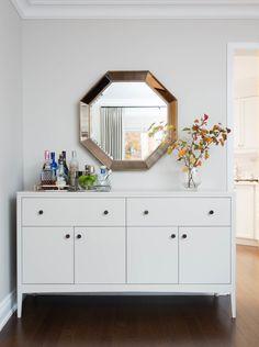 walls are balboa mist by benjamin moore. Dresser/sideboard is Collingwood by Benjamin Moore Vanessa Francis Design