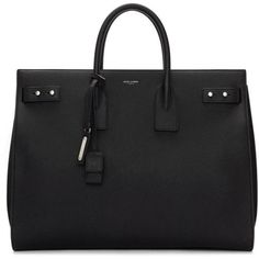 Saint Laurent Black Large Sac de Jour Tote ($3,425) ❤ liked on Polyvore featuring men's fashion, men's bags, black, mens leather tote bag, men's tote bag and mens leather bag