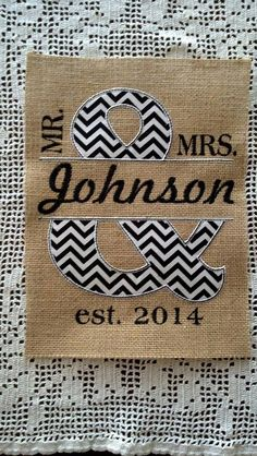 Wedding Shower Anniversary Housewarming Gift! Mr&Mrs Burlap Wall hanging Last name split letter applique Embroidery Personalized Chevron