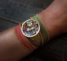 Boho Wrap Bracelet  Bismuth Crystal Bracelet  Silk by Element83