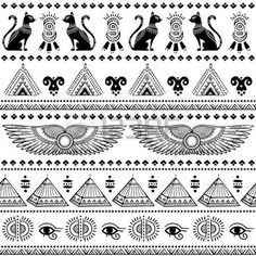 Illustration about Vector tribal ethnic seamless pattern with Egypt symbols. Illustration of pattern, egyptian, animal - 54051367 Egyptian Symbols, Ancient Egyptian Art, Ancient History, Tattoos Mandala, Tribal Tattoos, Geometric Tattoos, Tatoos, Pattern Images, Pattern Art