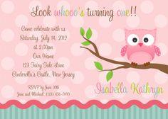 Invitation  First Birthday Pink Owl by afairytalebeginning on Etsy, $12.00