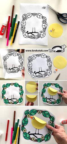 Easy Crafts For Kids, Diy For Kids, Diy And Crafts, Arts And Crafts, Spring Art, Spring Crafts, Bird Template, Paper Birds, Bird Crafts