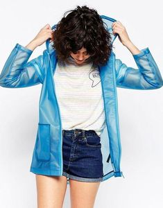 Pin for Later: Festival Drizzle Is No Match For These 23 Rain Macs Asos Festival Rain Mac Girls Raincoat, Blue Raincoat, Blue Trench Coat, Hooded Trench Coat, Raincoats For Women, Jackets For Women, Festival Rain Mac, Vinyl Raincoat, Vinyl Clothing