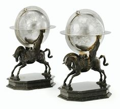 TWO ITALIAN SILVER AND BRONZE SCULPTURES REPRESENTING PEGASUS, APPARENTLY UNMARKED, PROBABLY LUIGI AVOLIO, NAPLES, CIRCA 1930.