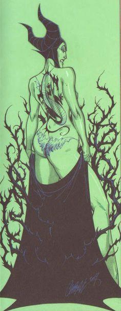 Malicifant disney villain. Rocking he cape off. I knew she had tattoos.