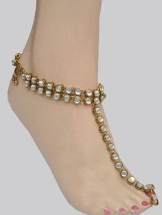 24350f1ce Kundan Anklet-Payal With Toe Ring   Costume Jewellery