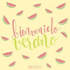 ¡El verano ya está aquí! #verano #summer #cosasbonitas #lettering #sandia #watermelon #ilustracion #illustration
