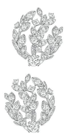 Premiers Brins #Earrings from #LesBlesDeChanel - #Chanel - #FineJewelry collection in 18K white gold set with 2 #BrilliantCut - #Diamonds for 1 carat and 154 Brilliant cut diamonds (3.6 cts) - July 2016