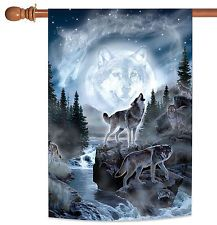 NEW Toland - Spirit Wolves - Outdoor Howling Wolf Creek Forest House Flag
