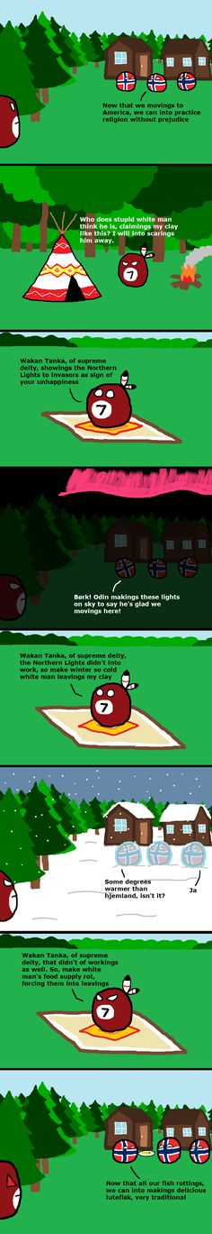 """""""Norwegian Immigration to America"""" ( Norway, Indian ) by avensis 32son #polandball #countryball #flagball"""