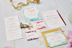 Watercolor wedding invitations | WojoImage Photography | see more on: http://burnettsboards.com/2015/03/bright-bold-watercolor-wedding/