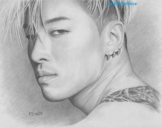 Big Bang Taeyang KPop Art Original Graphite Pencil by TheRedCrow