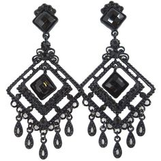 Amazon.com: Gothic Victorian Black Beaded Chandelier Cocktail Party... ($15) ❤ liked on Polyvore featuring jewelry, earrings, victorian jewellery, evening earrings, goth jewelry, beaded chandelier earrings and cocktail earrings