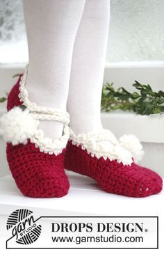 """DROPS Extra 0-578 - Crochet DROPS Christmas slippers in """"Eskimo"""" and """"Glitter"""". - Free pattern by DROPS Design"""