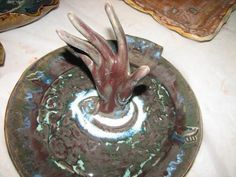 "Slab clay, Vintage hand out of recycled clay poured.  On jewelry tray.  Designed for ""The Pink Pistol"""