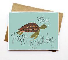 Happy Birthday - Birthday Card - Sea Turtle - Sorry