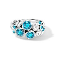 Classic aquamarine and diamond 'Bubbles' ring in white gold