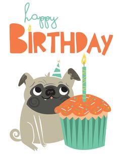 Happy Birthday Pug Card on Behance Birthday Wishes Greeting Cards, Birthday Wishes And Images, Birthday Card Sayings, Happy Birthday Pictures, Best Birthday Wishes, Bday Cards, Happy Birthday Greetings, Birthday Messages, Wishes Images