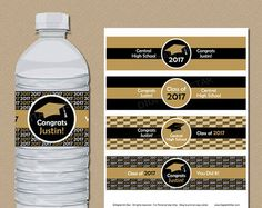 High School Graduation Party Decorations - Black and gold graduation water bottle label printable College Graduation Parties, Graduation Diy, Grad Parties, Vintage Graduation Party Ideas, Graduation Desserts, Graduation Party Favors, Graduation Quotes, Graduation Celebration, Graduation Invitations