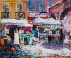 Gallery of Works City Painting, Painting & Drawing, Mike Bernard, Places In Cornwall, French Pictures, Mixed Media Art, Mix Media, Cityscape Art, Landscape Paintings