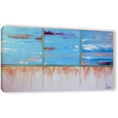 Shiela Gosselin Turquoise And Gold Gallery-Wrapped Canvas Art, Size: 12 x 24, White
