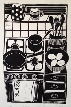 cooking with eggs lino print © jan brewerton