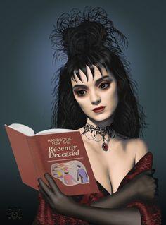 Stunning art of Winona Ryder as Lydia Deetz from Beetlejuice. Sweeney Todd, Arte Horror, Horror Art, Horror Pics, Gothic Horror, Horror Movies, Tim Burton Personajes, Film Tim Burton, Adornos Halloween