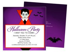 vampire halloween party invitation template