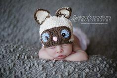 Crochet Baby Hat, Crochet Baby Cat Hat, Baby Animal Hat, Siamese Cat Hat, Newborn Animal Hat, Infant Cat Hat, Crochet Baby Beanie, Ecru by Monarchdancer on Etsy https://www.etsy.com/listing/106138566/crochet-baby-hat-crochet-baby-cat-hat