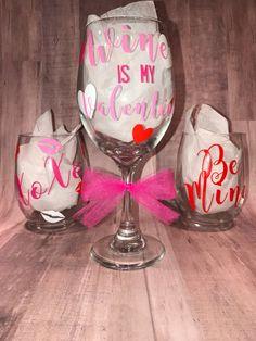 Valentines Day Wine Glasses/Wine Glasses/Stemless Wine Glass/Personalized Wine Glass/Custom Wine Glass