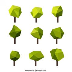 Polygonal trees Free Vector
