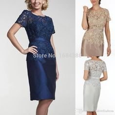 Navy Blue New 2016 Elegant Lace Satin Mother Of The Bride Dresses Short Sleeves Knee Length Brides Plus Size For Wedding Guest Gowns Jade Mother Of The Bride Dresses Lavender Mother Of The Bride Dresses From Cinderelladress, $96.34| Dhgate.Com