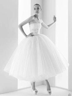Strapless Natural Waist Tea Length Wedding Dress $279