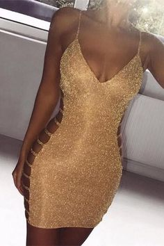 Imagine Us Gold Glitter Lurex Sleeveless Spaghetti Strap V Neck Cut Out Sides Bodycon Mini Dress Birthdays birthday dresses Gold Bodycon Dresses, Bodycon Dress Parties, Dress Party, Clubbing Dresses, Bodycon Outfits, Gold Mini Dresses, Gold Dress, Clubbing Outfits Nightclub, Sexy Homecoming Dresses