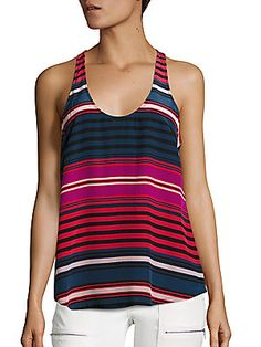 Joie Drew C Striped Silk Tank Top
