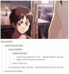 IM CRYING I NEVER NOTICED THIS<<That last comment tho!<< well that's not weird at all i mean uh it's uh aot and... stuff
