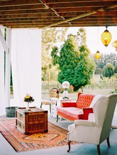 Richly colored velvet vintage lounge