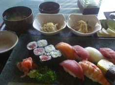 """The Sushi cooked in the japanese restaurant named  """"Maya Sayang"""" in Indonesia.  i wonder that a some of a fish coming from the sea around Indonesia??  #japanese_restaurant"""