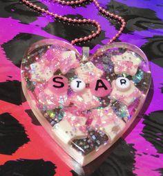 Glow in the dark Star Heart glitter resin necklace, kawaii heart pendant, glitter resin heart, GITD star necklace