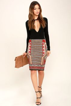 The Side to Side Red and Gold Print Pencil Skirt is as cozy as your favorite sweater! An allover red, gold, beige, and black geometric print, in super soft and stretchy viscose, shapes a high, elasticized waist and fitted, midi length silhouette.
