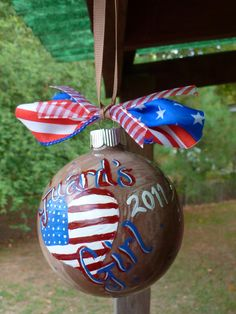 One of my own :) Razorback hand painted ornament w/ brown & white paint inside