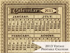 ☞ ☞ More than 50 free printable 2013 calendars – kostenlos ausdruckbare Kalender 2013 Free Printable Calendar, Printable Paper, Free Printables, Printable Vintage, Printable Lables, Project Life, Deco Dyi, Silhouettes, Vintage Calendar