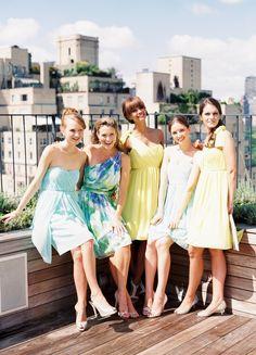 Mixed Bridesmaid Dress Ideas, Print dresses, Aquamarine, Scuba Blue, Yellow, Neutrals, Donna Morgan, Lisa Sammons Events